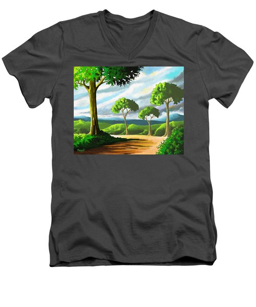 Men's V-Neck T-Shirt featuring the painting Standing Tall by Anthony Mwangi