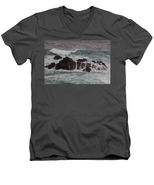 Men's V-Neck T-Shirt featuring the photograph Standing Up To The Waves by Suzanne Luft