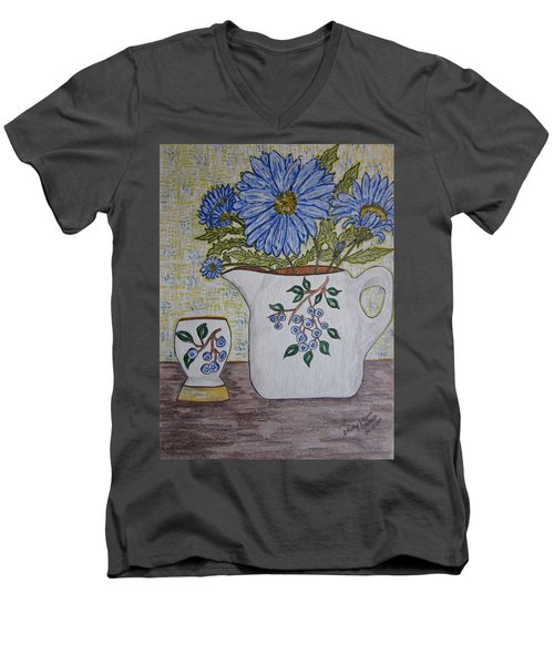 Men's V-Neck T-Shirt featuring the painting Stangl Blueberry Pottery by Kathy Marrs Chandler