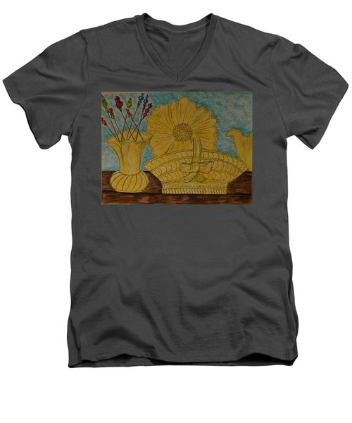 Men's V-Neck T-Shirt featuring the painting Stangl Pottery Satin Yellow Pattern And Vintage Hat Pins by Kathy Marrs Chandler