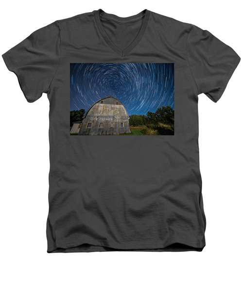 Star Trails Over Barn Men's V-Neck T-Shirt by Paul Freidlund