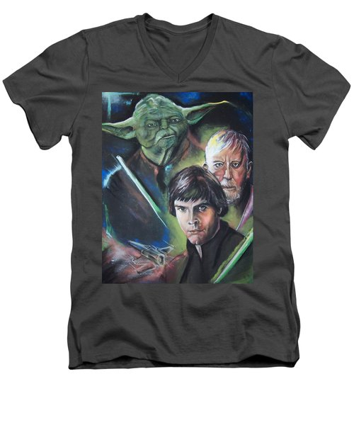 Men's V-Neck T-Shirt featuring the pastel Star Wars Medley by Peter Suhocke