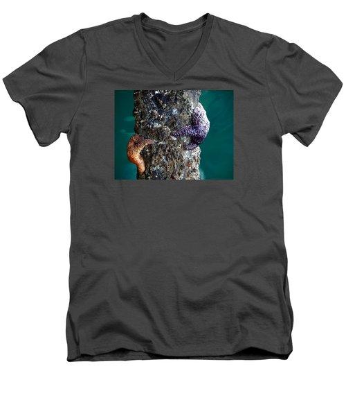 Starfish Under The Pier Men's V-Neck T-Shirt by Kathy Churchman
