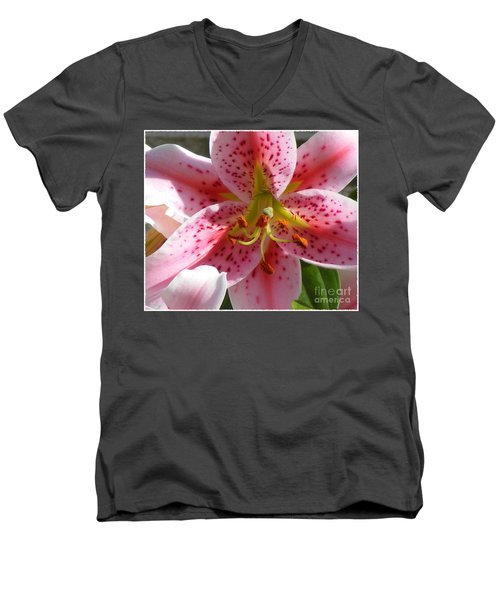 Men's V-Neck T-Shirt featuring the photograph Stargazer Lily by Barbara Griffin