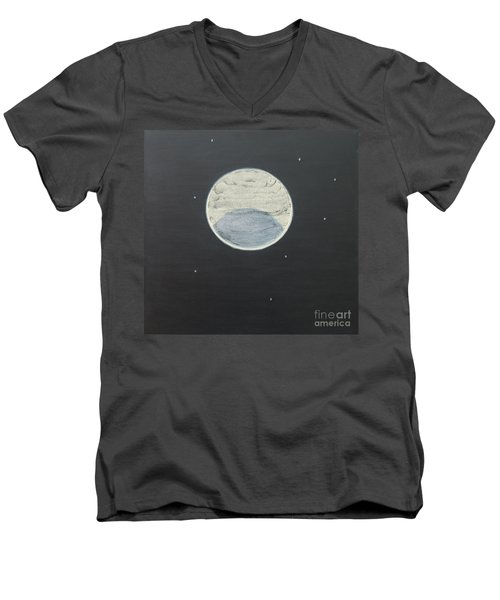Men's V-Neck T-Shirt featuring the painting Starlight by Mini Arora