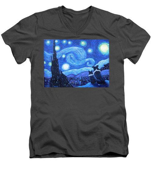 Men's V-Neck T-Shirt featuring the painting Starry Night Border Collies by Fran Brooks