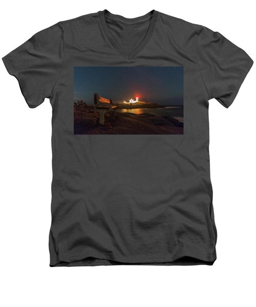 Starry Skies Over Nubble Lighthouse  Men's V-Neck T-Shirt