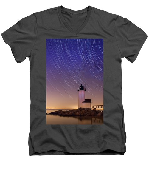 Men's V-Neck T-Shirt featuring the photograph Stars Trailing Over Lighthouse by Jeff Folger