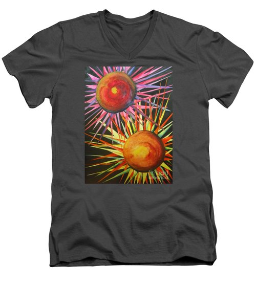 Men's V-Neck T-Shirt featuring the painting Stars With Colors by Chrisann Ellis