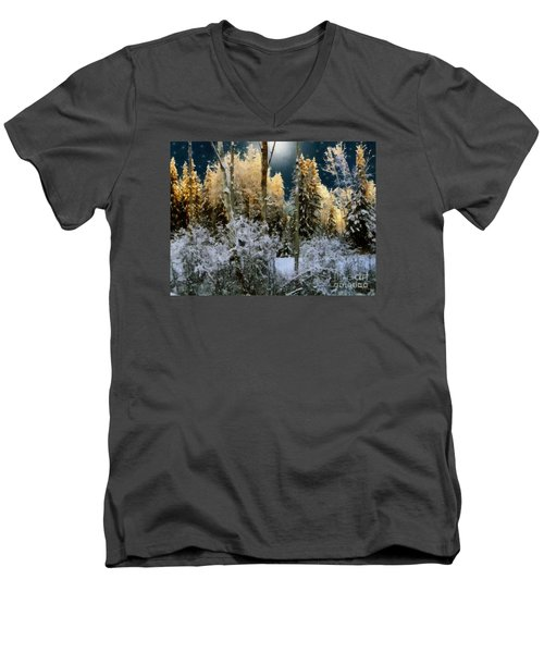 Starshine On A Snowy Wood Men's V-Neck T-Shirt by RC deWinter