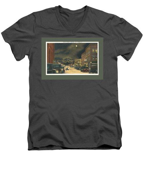 State Street Bristol Va Tn At Night Men's V-Neck T-Shirt