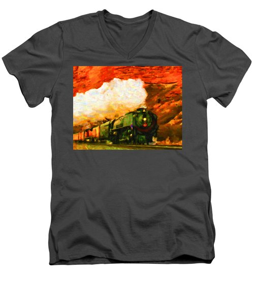 Steam And Sandstone Men's V-Neck T-Shirt by Chuck Mountain