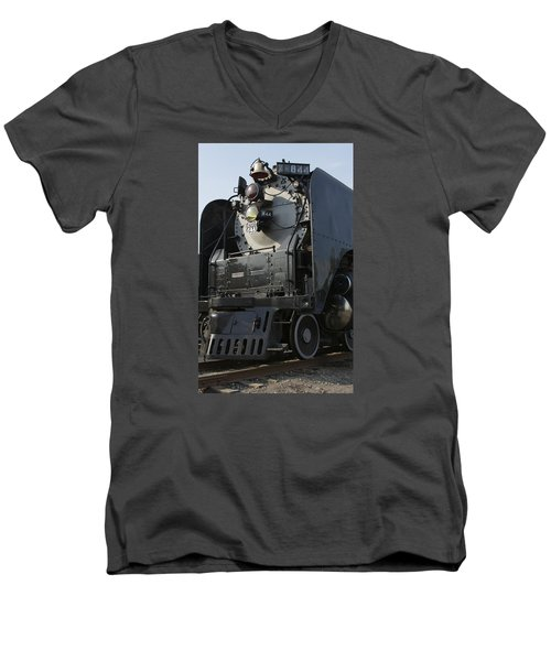 Men's V-Neck T-Shirt featuring the photograph Steam Engine U P 844 by Jane Eleanor Nicholas