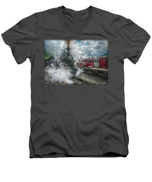 Men's V-Neck T-Shirt featuring the photograph Steam Train by Hanny Heim