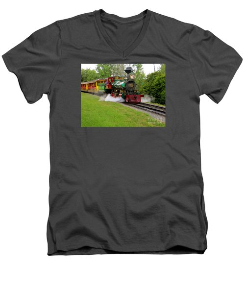 Men's V-Neck T-Shirt featuring the photograph Steam Train by Joy Hardee