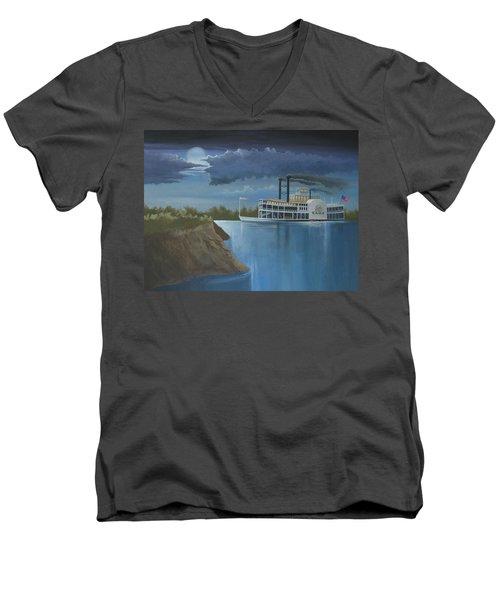 Steamboat On The Mississippi Men's V-Neck T-Shirt by Stuart Swartz