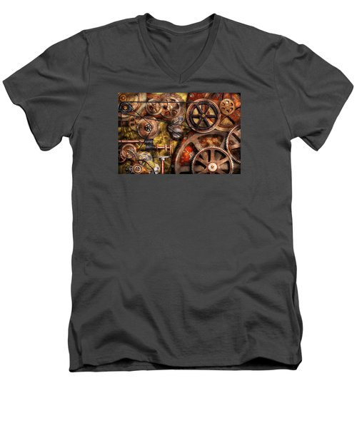 Steampunk - Gears - Inner Workings Men's V-Neck T-Shirt by Mike Savad