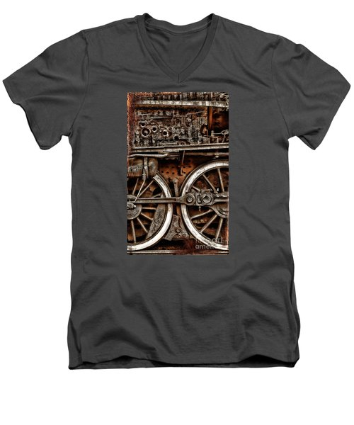 Steampunk- Wheels Locomotive Men's V-Neck T-Shirt