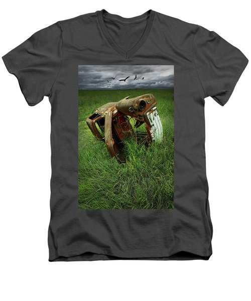 Steel Auto Carcass With Vultures Men's V-Neck T-Shirt