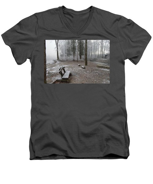 Men's V-Neck T-Shirt featuring the photograph Steep And Frost - 3 by Felicia Tica