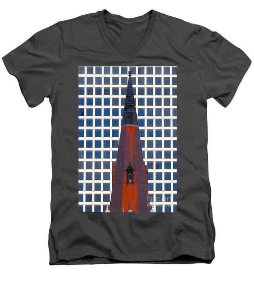 Men's V-Neck T-Shirt featuring the photograph Steeple And Office Building by Janette Boyd