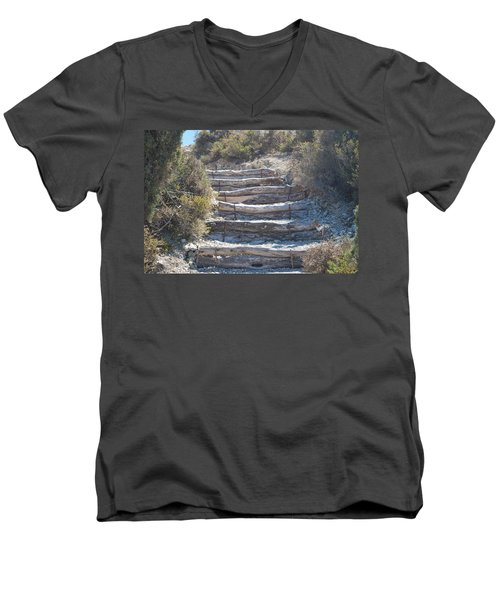 Steps In The Woods Men's V-Neck T-Shirt