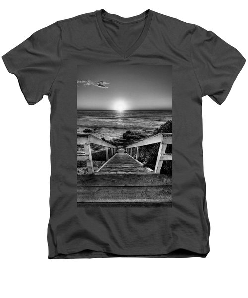Steps To The Sun  Black And White Men's V-Neck T-Shirt by Peter Tellone
