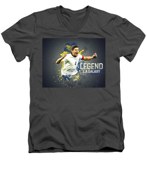 Steven Gerrard Men's V-Neck T-Shirt by Taylan Apukovska