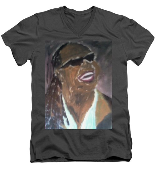 Men's V-Neck T-Shirt featuring the painting Stevie Wonder 1 by Christy Saunders Church