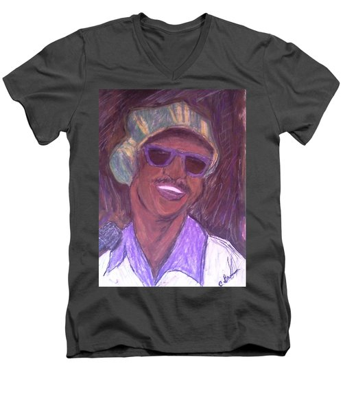 Men's V-Neck T-Shirt featuring the drawing Stevie Wonder 2 by Christy Saunders Church