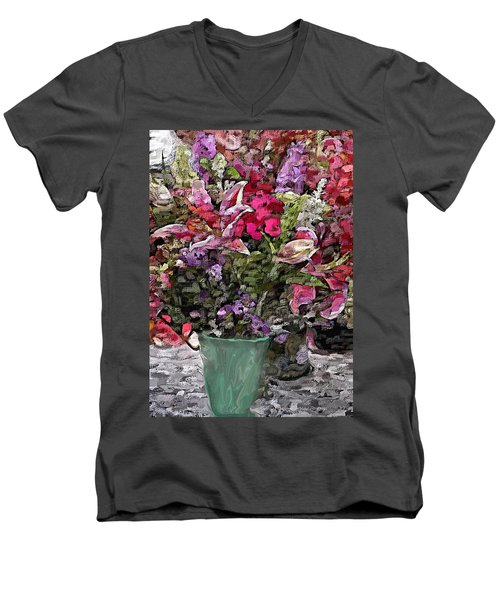 Men's V-Neck T-Shirt featuring the digital art Still Life Floral by David Lane
