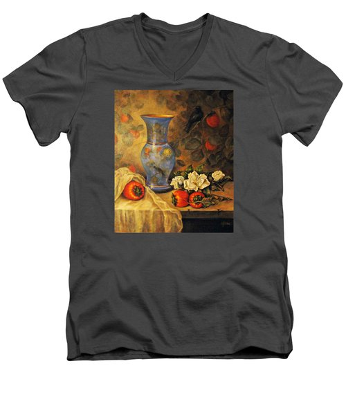 Still Life Of Persimmons  Men's V-Neck T-Shirt by Donna Tucker
