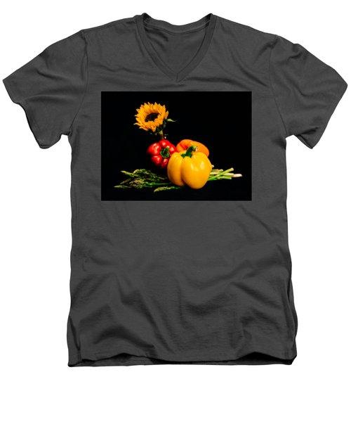 Still Life Peppers Asparagus Sunflower Men's V-Neck T-Shirt by Jon Woodhams