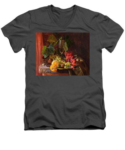 Still-life With A Glass Of Wine And Grapes Men's V-Neck T-Shirt