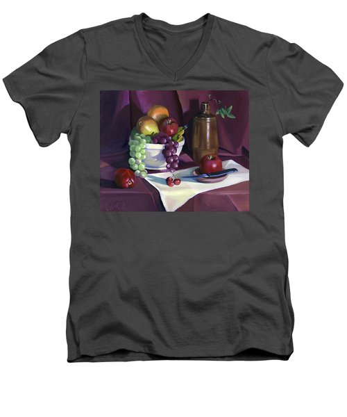 Men's V-Neck T-Shirt featuring the painting Still Life With Apples by Nancy Griswold