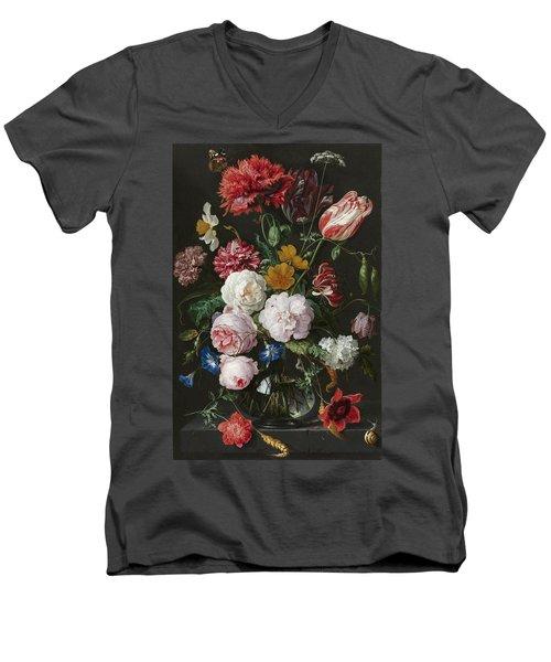 Still Life With Flowers In Glass Vase Men's V-Neck T-Shirt