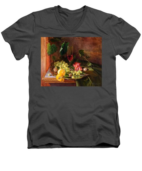 Still Life With Grapes And Grapevine Men's V-Neck T-Shirt