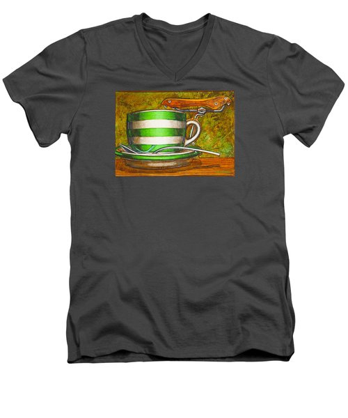 Still Life With Green Stripes And Saddle  Men's V-Neck T-Shirt by Mark Jones