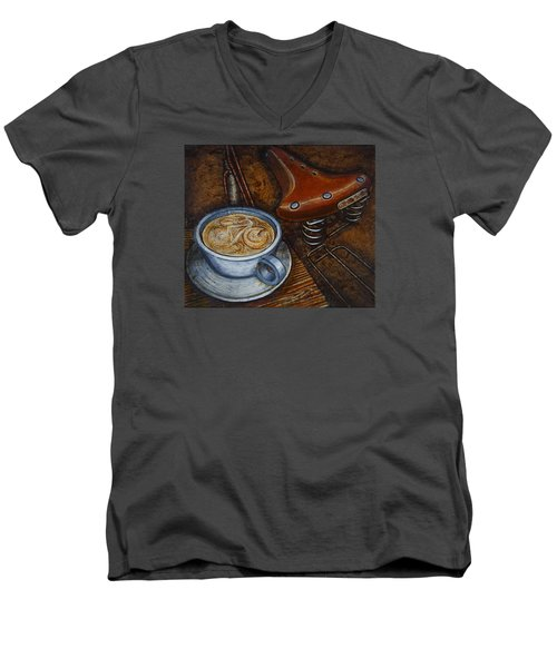 Men's V-Neck T-Shirt featuring the painting Still Life With Ladies Bike by Mark Howard Jones