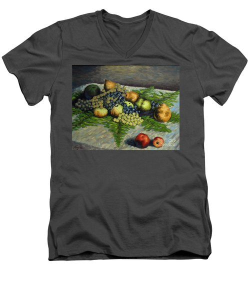 Still Life With Pears And Grapes Men's V-Neck T-Shirt