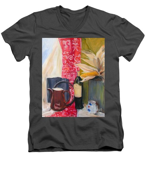 Men's V-Neck T-Shirt featuring the painting Still Life With Red Cloth And Pottery by Greta Corens