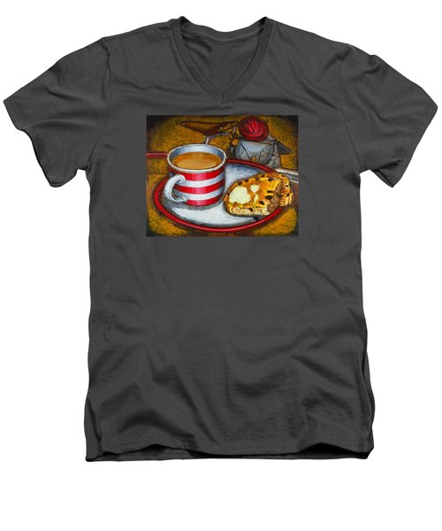 Men's V-Neck T-Shirt featuring the painting Still Life With Red Touring Bike by Mark Howard Jones