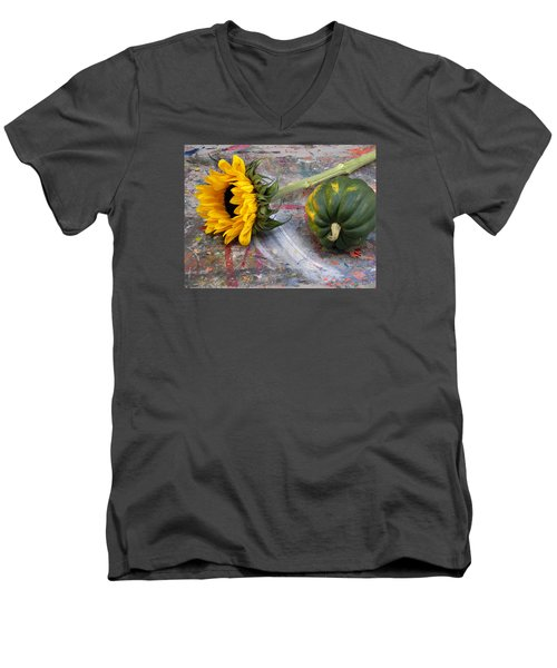 Still Life With Sunflower Men's V-Neck T-Shirt