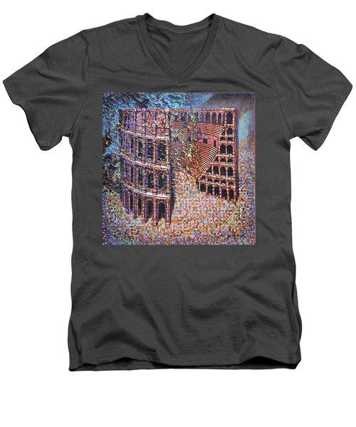 Men's V-Neck T-Shirt featuring the painting Still Stadium by Mark Howard Jones
