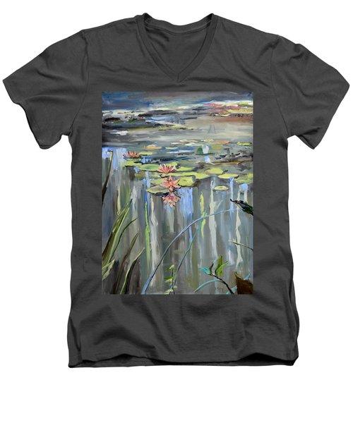 Still Waters Men's V-Neck T-Shirt by Donna Tuten
