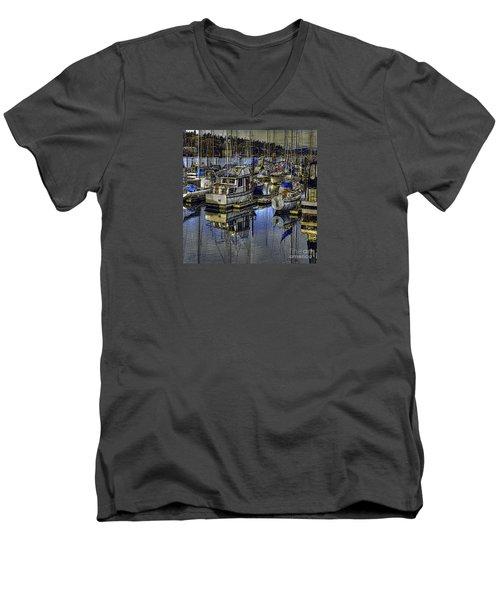 Men's V-Neck T-Shirt featuring the photograph Still Water Masts by Jean OKeeffe Macro Abundance Art