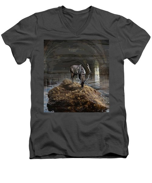 Stillness Men's V-Neck T-Shirt by Yvonne Wright