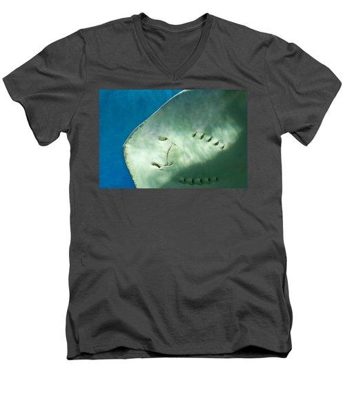Men's V-Neck T-Shirt featuring the photograph Stingray Face by Eti Reid