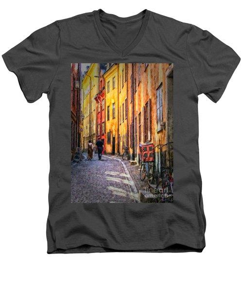 Stockholm Gamla Stan Painting Men's V-Neck T-Shirt