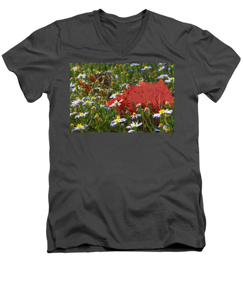 Men's V-Neck T-Shirt featuring the photograph Stocking Up For The Winter by Gary Holmes